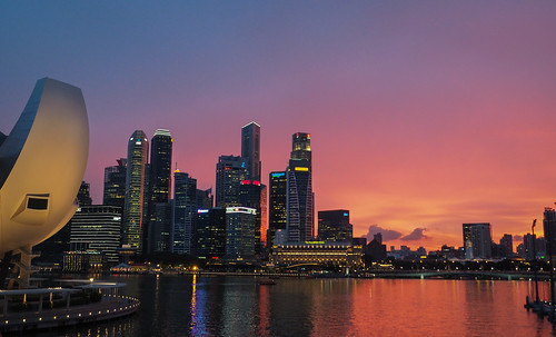 twilight singapore cityscape nightscape dusk pinksky marinabay marinareservoir mbssunset