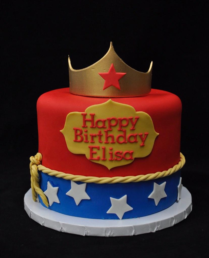 Superb Wonder Woman Birthday Cake Vegan Berry Cake With Lemon Fro Flickr Funny Birthday Cards Online Alyptdamsfinfo