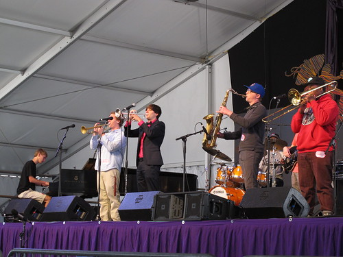 NOCCA Jazz Ensemble, in the Jazz Tent.  Photo by Keith Hill.