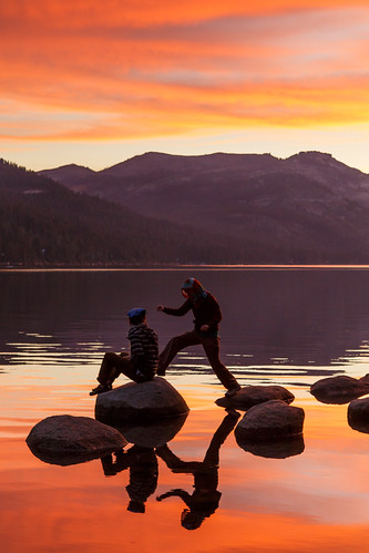 california sunset lake reflection sierra stretching leaping hopping donner truckee