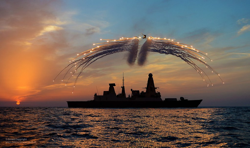 HMS Dragon's Lynx Helicopter Firing Flares
