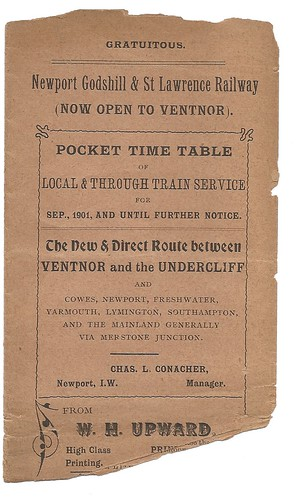 Newport, Godshill and St Lawrence Railway Timetable 1901 | by ian.dinmore