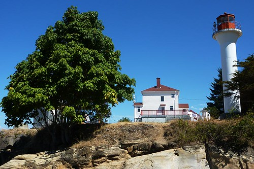 Georgina Point Lighthouse on Mayne Island in Gulf Islands National Park, Southern Gulf Islands, British Columbia, Canada