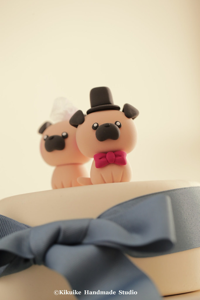 Pug Wedding Cake Topper Handmade Wedding Cake Topper