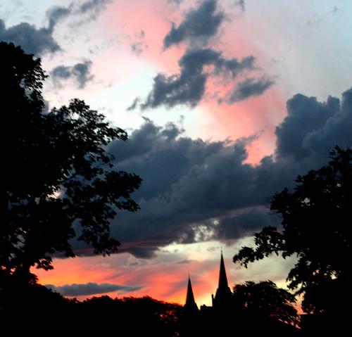 sunset clouds steeple