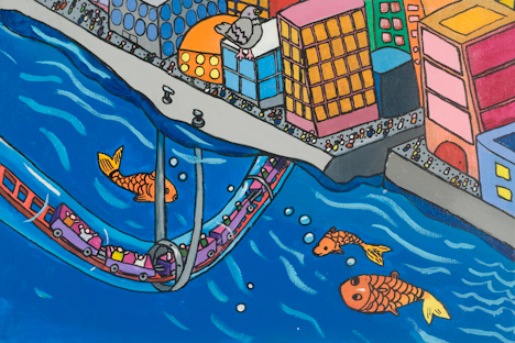 "The Brooklyn-Battery Aqua Coaster Leaving Manhattan (16"" x 24"" acrylic on canvas)"