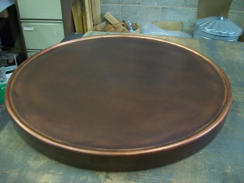 3 - Copper Table Top with Lipped Perimeter, Bronzed Finish, 60cm Diameter | by Metal Sheets Limited