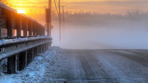 road bridge winter snow fog sunrise snowfog waynesvile