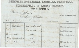 Sheffield, Rotherham, Barnsley,Wakefield, Huddersfield & Goole Railway page from book of reference 1846 | by ian.dinmore