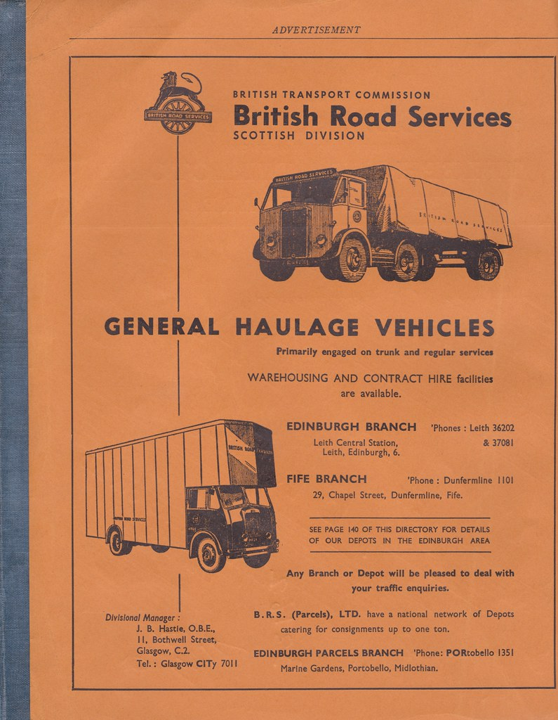 British Road Services (Scottish Division) advert from 1956