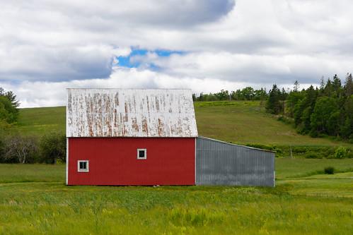 red barn rural farm architecture sky clouds fields nikon 24120 landscape nova scotia canada outdoor