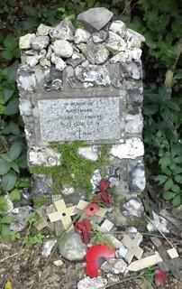 Fallen Battle of Britain flier AIRMAN'S CRASHSITE TRIBUTE ON SOUTH DOWNS WAY Hauptmann......