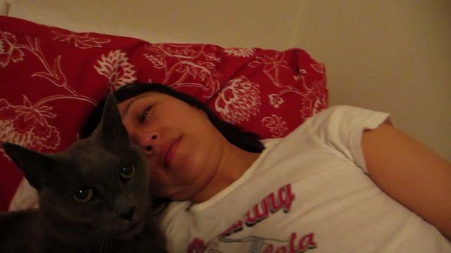Helen with cat (2013)