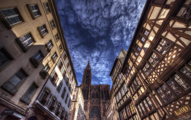 Cathédrale Notre Dame de Strasbourg view from Rue Mercière - Alsace - France