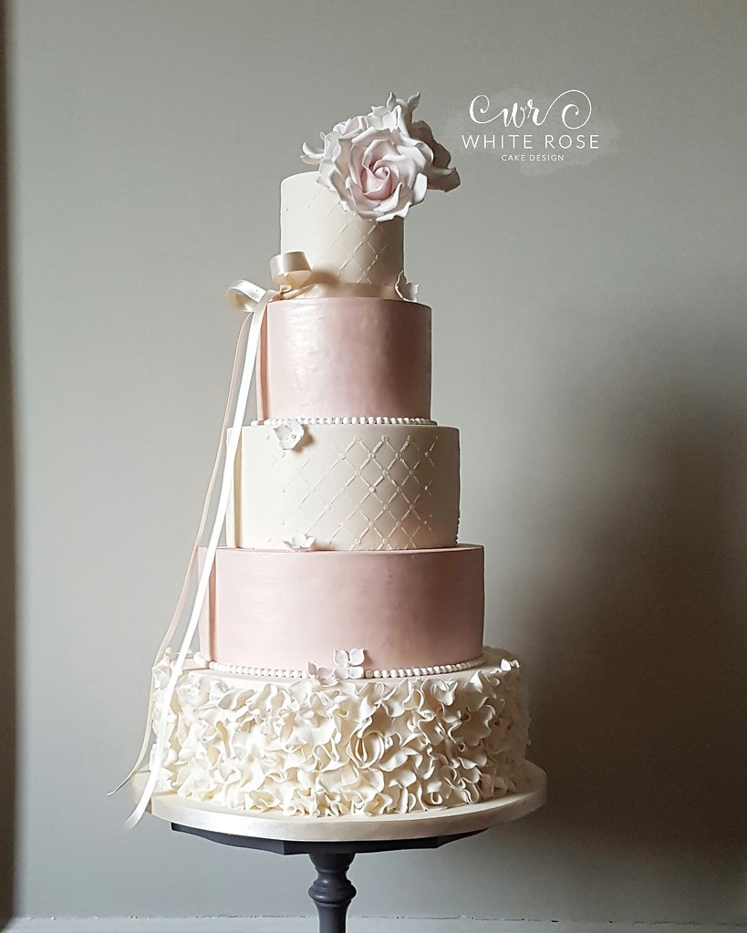 Five Tier Pink And Ivory Ruffles Wedding Cake With Blush R Flickr