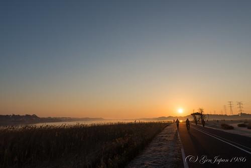 2014 千葉県 太陽 手賀沼 日の出 朝日 柏市 風景 日本 朝焼け nikond600 chiba japan landscape sun sunrise twilight bridge 手賀大橋 空 sky clear day teganuma