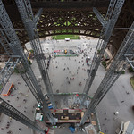 Looking down from the center of the Eiffel Tower