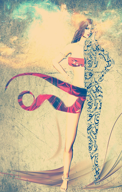 Exotic, calligraphic virtual woman