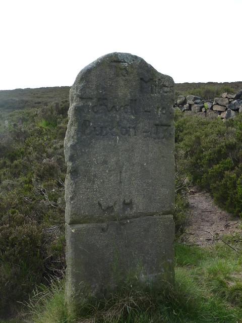 Milestone, Houndkirk Road SWC Walk 266 - Sheffield to Bamford (via Burbage Rocks and Stanage Edge) or to Moscar Lodge