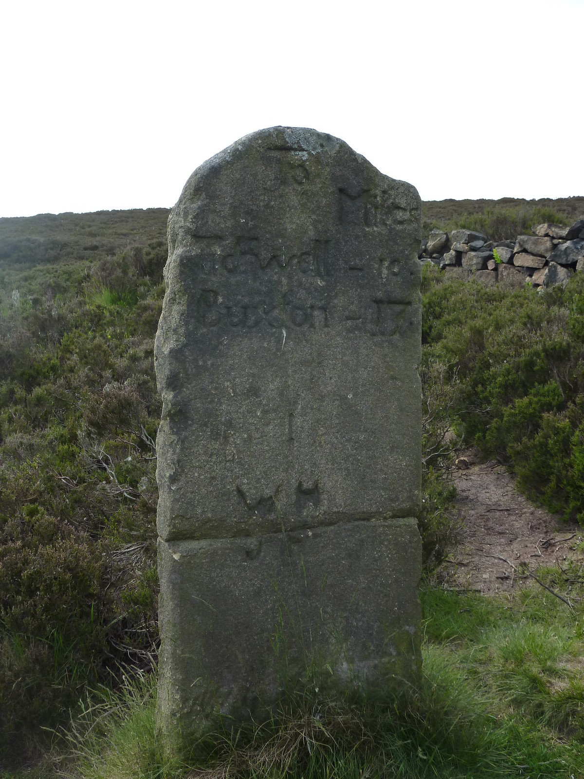 Milestone, Houndkirk Road SWC Walk 266 - Sheffield to Bamford (via Burbage Rocks and Stanage Edge) or to Moscar Lodge