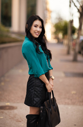 cute & little blog | teal silk top, sheinside leather quilted skirt, vince camuto bedina over-the-knee otk black boots outfit | petite fashion | by kileen | cute & little blog