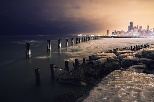 city longexposure morning winter lake chicago cold ice water skyline sunrise lights illinois downtown lakemichigan lakeshoredrive pilings hancock hdr cookcounty foreground windycity fullertonavenue pentaxk5 briankoprowski bkoprowski