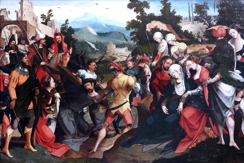 IMG_8556A Pieter Cornelis Kunst. 1484-1561.    Montée au Calvaire Ecole de Leyde. vers 1520.  Douai. Musée de la Chartreuse