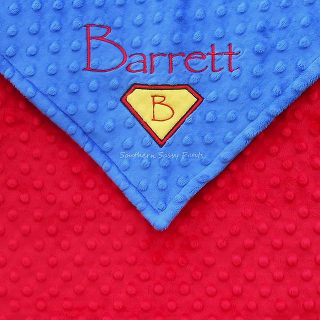 Personalized Superman Baby Boy Blanket