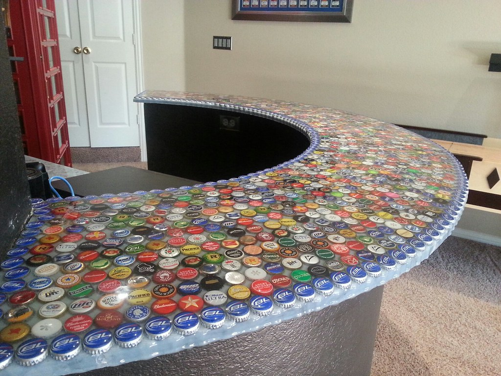 Bottle Cap Bar Top   Made from bottle caps and UltraClear ...