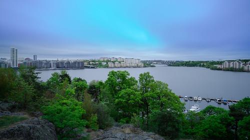 longexposure bridge trees water skyline clouds europe sweden stockholm sthlm solna kungsholmen tranebergsbron redfurwolf