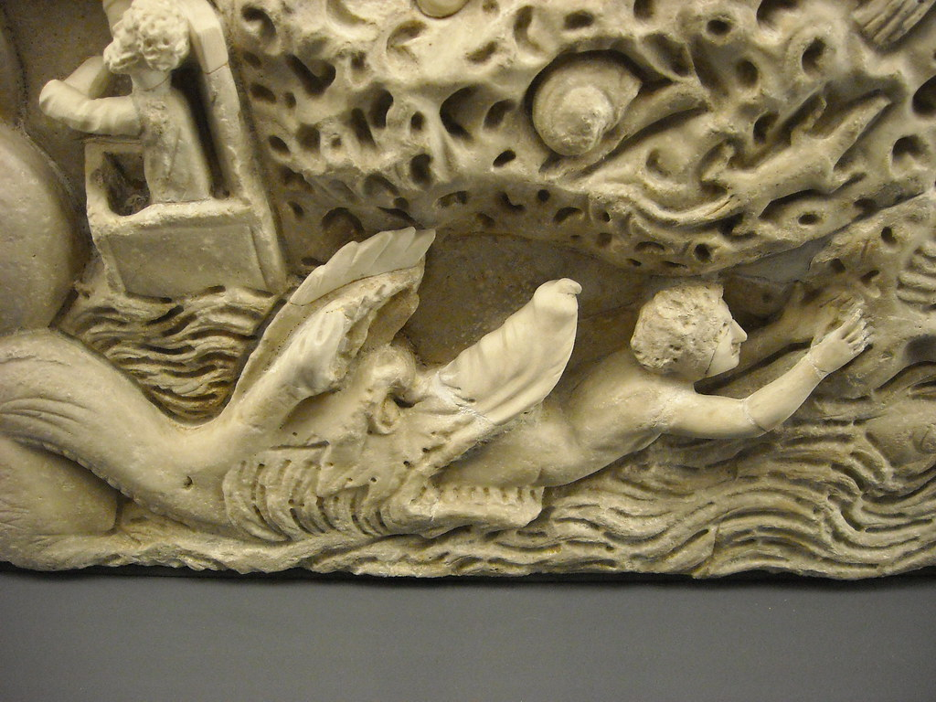 """Jonah vomited in sea"" - ""Jonah Sarcophagus"" - about 300 AD - Vatican Museum - Now in ""Art Treasures restored"" Exhibition - Naples, Capodimonte Museum (until 9 July 2013)"