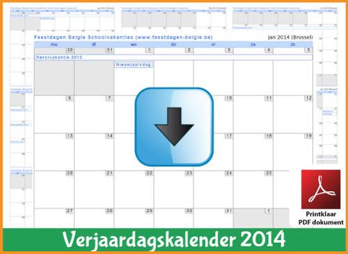 Gratis verjaardagskalender 2014 met de Belgie feestdagen en schoolvakanties (download kalender 2014)