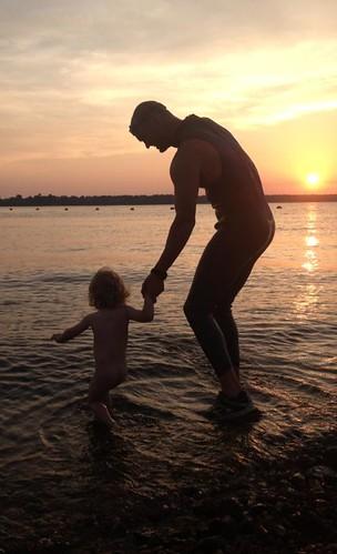 sunset swimming grandlake