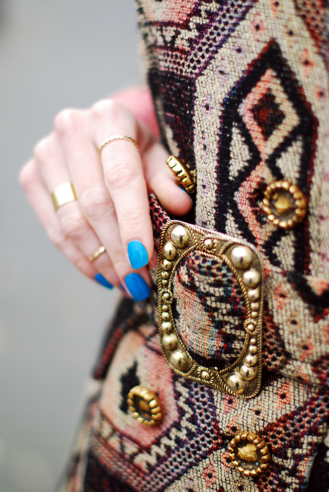 Vintage tapestry coat, blue nails, gold jewellery | Not Dressed As Lamb