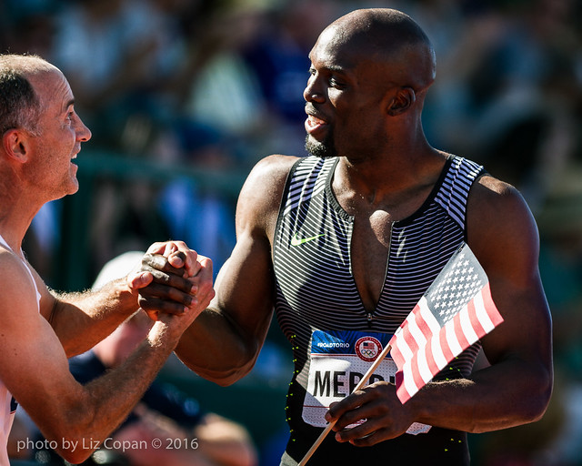LaShawn Merritt is congratulated after his first place win in the Men's 400 meter finals of the US Olympic Trials at Hayward Field in Eugene, Oregon on Sunday, July 3, 2016. (photo by Liz Copan)