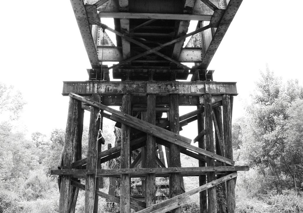 Pony Girder Railroad Bridge over Cedar Bayou, Baytown, Texas 1309281519BW