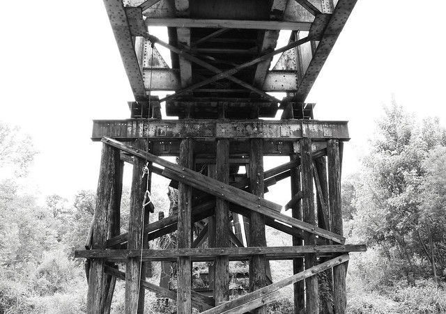 Pony Girder Railroad Bridge over Cedar Bayou, Baytown, Texas 1309281519BW