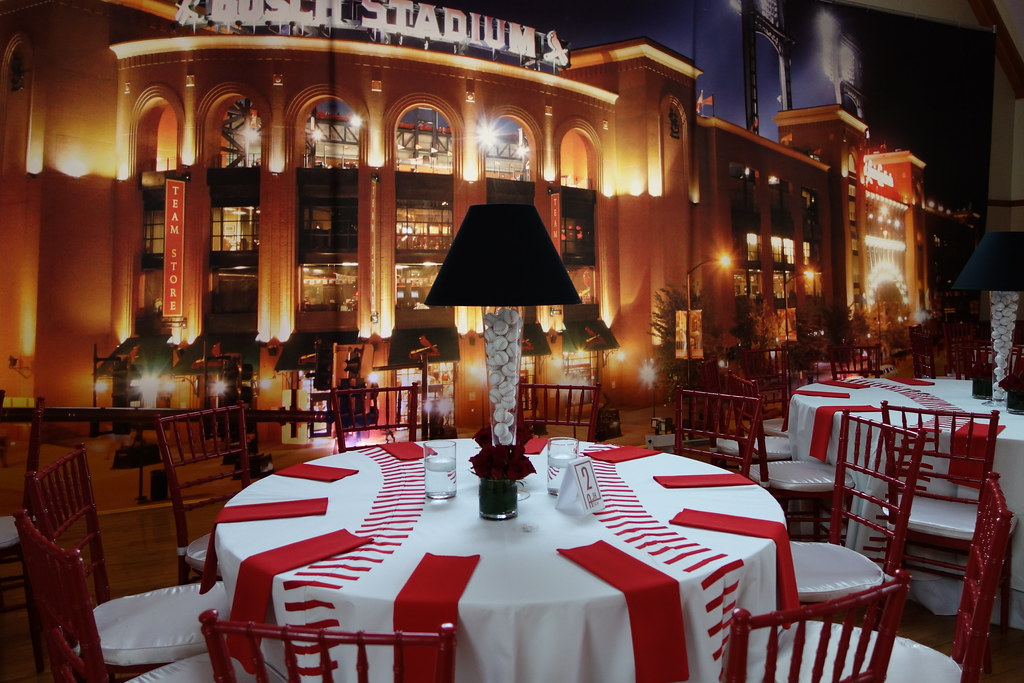 Busch Stadium Back Drop Baseball Centerpieces With Lamp Sh ...