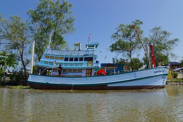 Fishing boat on the Mae Klong river near Amphawa in Samut Songkhram, Thailand