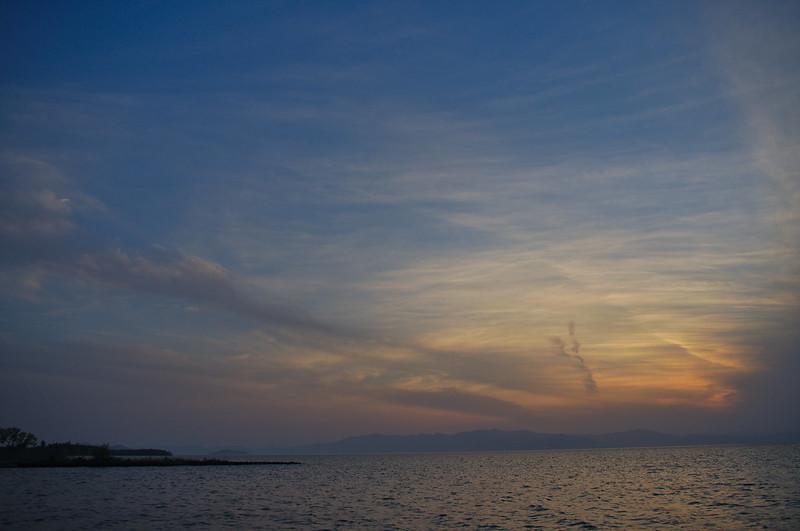 Coucher de soleil sur le lac Biwa