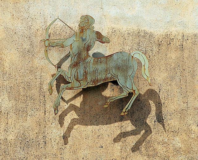 Centaurs: A two-dimensional bronze sculpture, Tourtour, Var, France