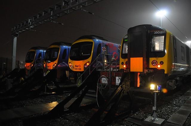 TPE Class 350/4, 350401 & Class 185's 185108, 185151, & 185130