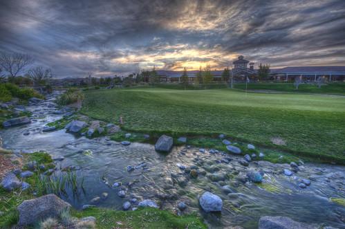 california sunset sky green water grass clouds creek golf rocks hdr 201403 applevalley building spring ashwood golfcourse highdesert nikon d800 2014 architecture best travel usa