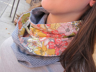 Infinity Scarf made with Robert Kaufman Dot Chambray and Liberty Tana Lawn in Mauvey | by Everyday Fray