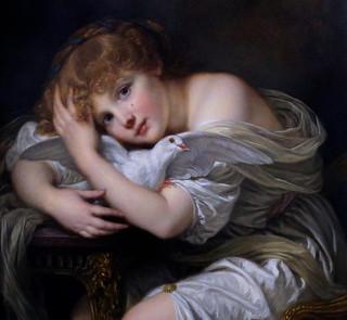 IMG_8701C Jean Baptiste Greuze. 1725-1805. Paris.  Jeune fille à la colombe. Girl with dove Douai. Musée de la Chartreuse | by jean louis mazieres