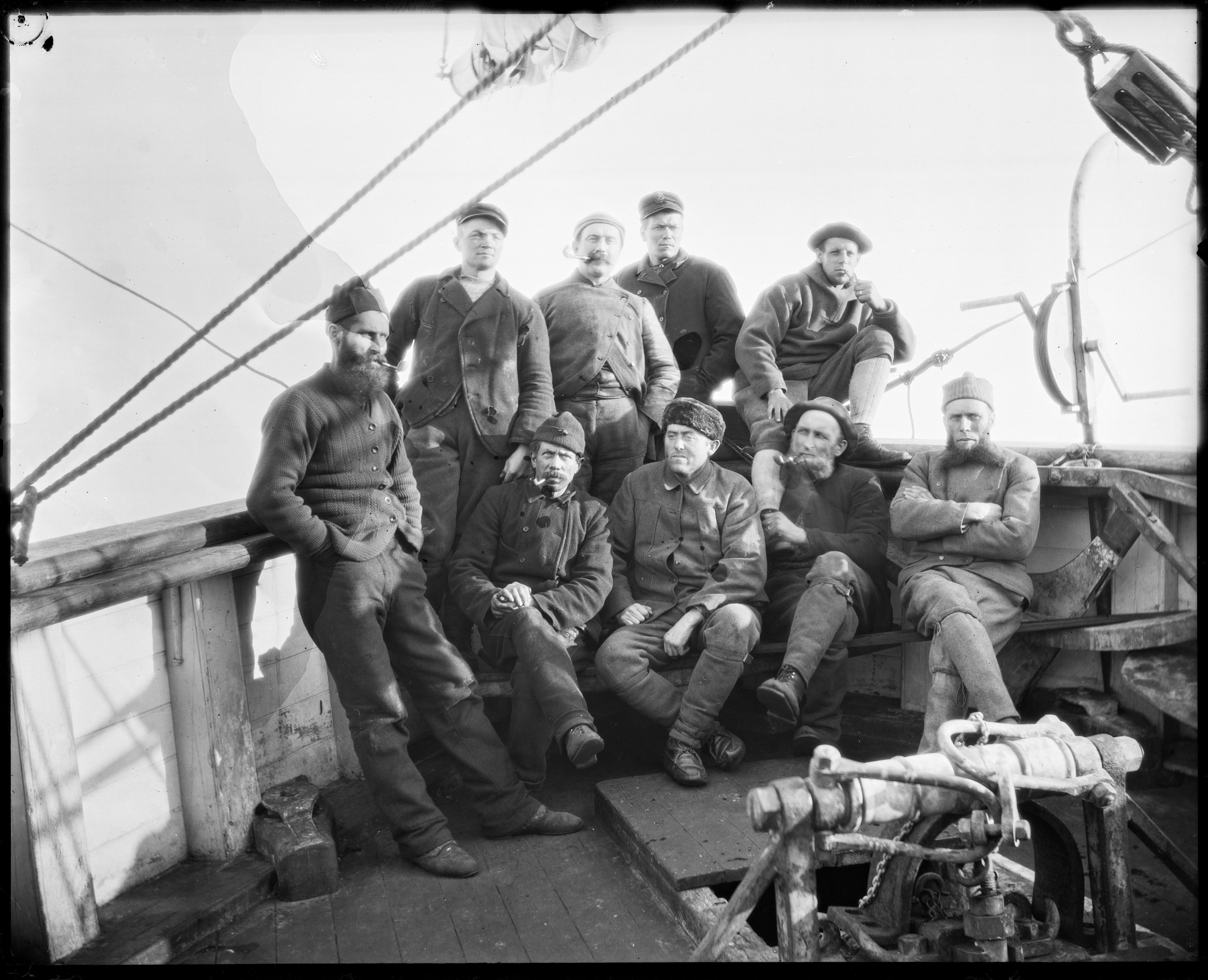 q3c065. Mannskapet om bord i «Fram», ca. 1894