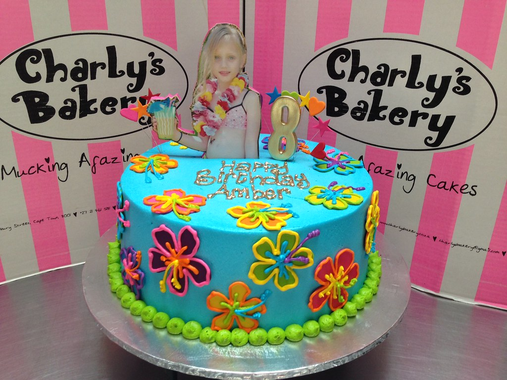 Groovy Hawaiian Pool Party Themed Cake With Hibiscus Daisies Ed Flickr Funny Birthday Cards Online Inifodamsfinfo