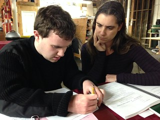 Sara helps Ian with homework | by Autistry Studios