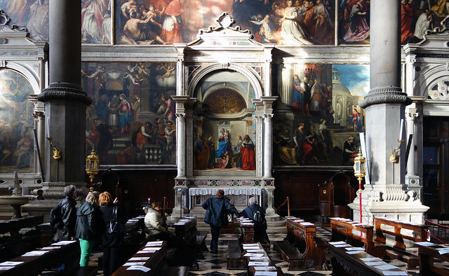 View of Bellini's San Zaccaria Altarpiece from across the nave