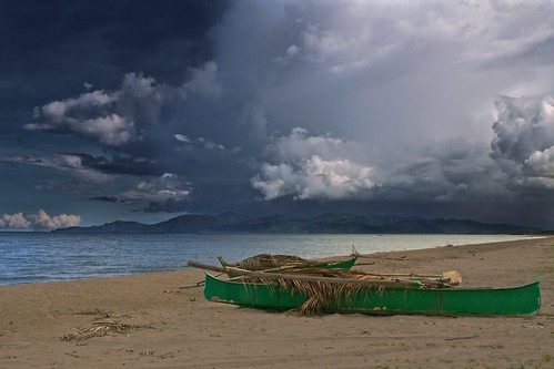ocean travel vacation green beach clouds landscape boat philippines leyte